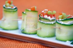 "JUST made these - holy moly! I used cucumbers instead of zucchini and I used Philadelphia Cream cheese ""Garden Vegetable"". Simple, fun and delicious!"