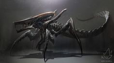 What would happen if a Xenomorph facehugger got ahold of a Warrior Bug from Starship Troopers? Maybe this.  EPIC  aah i'm so glad the artist has tumblr, i saw this floating around unsourced on reddit