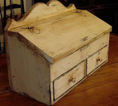 Primitives -Primitive Country Smalls  I like this alot would make a great bread box or an array of other ideas.