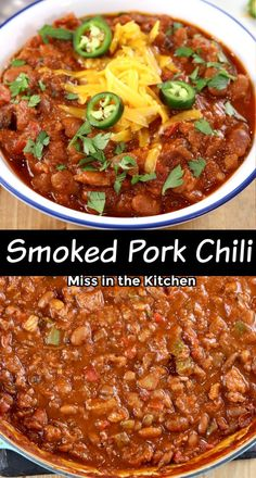 Chili is the perfect make ahead dinner. Smoke the pork over the weekend and make this an easy meal prep dinner that goes together super quick for a busy weeknight. It's guaranteed to be a crowd pleaser! Easy Meal Prep, Easy Meals, Easy Dinner Recipes, Great Recipes, Main Dishes, Side Dishes, Smoked Pork, Best Appetizers, Grilling Recipes