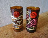 RARE Recycled Beer Bottle Glasses made from Lips of Faith Tart Lychee and  Le Terroir Beer Bottles by New Belgium Brewing