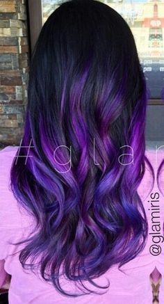 Purple ombre dyed hair                                                                                                                                                                                 More