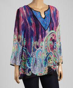 Look at this #zulilyfind! Pink & Purple Mystic Paisley Top - Plus by Sienna Rose #zulilyfinds
