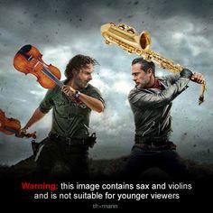 ;-) #tv #fun #series #funny #music #stuff #warning #sax #violins #music #memes #memestagram #memesdaily #twd #thewalkingdead #thewalkingdeadseason7 #violins #violin #saxophone