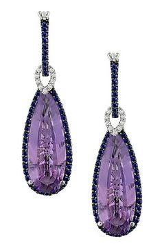 Two-Tone Diamond, Sapphire & Amethyst Teardrop Earrings