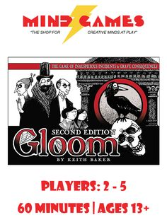 In the Gloom Card Game, you assume control of the fate of an eccentric family of misfits and misanthropes. The goal of the game is sad, but simple: you want your characters to suffer the greatest tragedies possible before passing on to the well-deserved respite of death. You'll play horrible mishaps like Pursued by Poodles or Mocked by Midgets on your own characters to lower their Self-Worth scores, while trying to cheer your opponents' characters with marriages and other happy occasions…