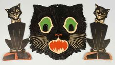"Die-Cut Halloween Pieces.  Description Includes two standing cats and one large cat. Condition (Excellent). Size Largest: 12"" x 12 - 1/4""."