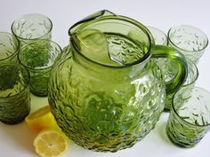 Vintage Pitcher and Glasses  Anchor Hocking Avocado by Vintagerous