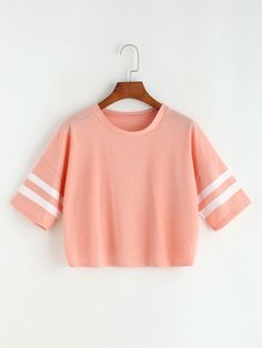 Varsity Striped Drop Shoulder Crop Tee