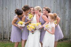 Bridesmaids Barn Wedding Michigan Photographer Purple Bridesmaid's Dresses Yellow Wedding Bouquet Flower Girl