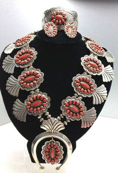 Navajo coral and sterling squash blossom suite, signed ERB