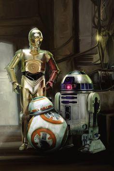 C-3PO, R2-D2 and BB-8 fan art