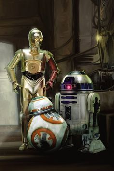 C-3PO, R2-D2 and BB-8 fan art