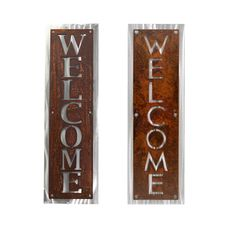 """Rustic Two-Tone Metal Welcome Sign, Vertical Hanging Welcome Sign. Rustic welcome signs are highly visible and a beautiful addition to your front door! Display this beautiful welcome sign indoors or out. Shiny aluminum backing plate is polished for an eye-catching reflection in any light. Makes a great house warming gift! Choose from 5 text styles as shown in final photo. Sign is 32"""" tall and 10"""" wide."""