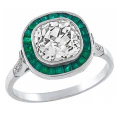 2.30 Carat Diamond Emerald Platinum RIng | From a unique collection of vintage engagement rings at https://www.1stdibs.com/jewelry/rings/engagement-rings/ $14150