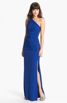 Laundry by Shelli Segal Beaded Panel One Shoulder Jersey Gown available at #Nordstrom