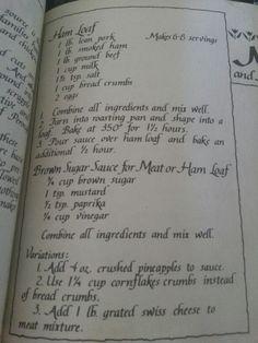 Ham loaf from Amish cookbook