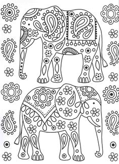 Tribal Elephant Coloring Pages from Elephant Coloring Pages. Welcome to the elephant coloring section, you can find a wide variety of fun elephant coloring. You can easily express yourself with the coloring penc. Elephant Coloring Page, Animal Coloring Pages, Coloring Book Pages, Tribal Elephant, Elephant Pattern, Elephant Colour, Hand Embroidery Patterns, Embroidery Stitches, Embroidery Designs