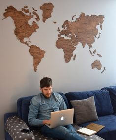 Wall World Map Wooden Large Travel Map of the World Rustic