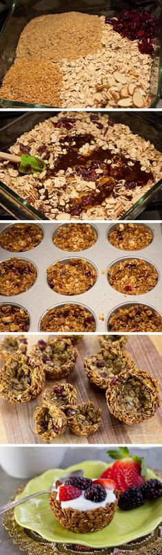 How cute are these granola cups? Perfect filled with yogurt and topped with fruit! For more grain-filled recipes, health tips, and interesting articles: http://www.grainsforyourbrain.org/?utm_source=pinterest&utm_medium=social&utm_campaign=gffpins13