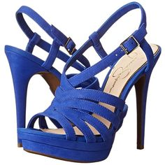 Jessica Simpson Peace (New Cobalt Blue Elko Nubuck) High Heels ($66) ❤ liked on Polyvore featuring shoes, sandals, blue, high heel platform sandals, high heel sandals, cobalt blue sandals, jessica simpson shoes and open toe sandals