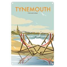 East Urban Home A stunning design of Tynemouth, Tyne and Wear. By talented artist, Dave Thompson. Thompson's art revisits a classic era of poster design, taking many elements of popular travel art, while remaining current and vibrant. Portsmouth, North Shields, Vintage Travel Posters, Retro Posters, Poster Vintage, Art Posters, Vintage Ads, Railway Posters, Boat Plans