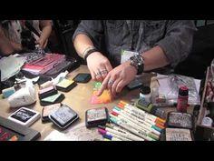 ▶ Tim Holtz CHA Summer 2013 - YouTube Distress Ink Techniques, Collage Techniques, Card Making Techniques, Distress Markers, Tim Holtz Distress Ink, Card Tutorials, Video Tutorials, Art Journal Tutorial, Stampin Up