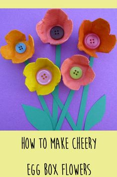 Use egg boxes and paint to make this bright and beautiful flower picture. A lovely craft for kids.