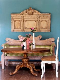 Love the bench for seating at the table
