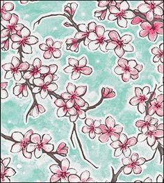 Cherry Blossom Aqua Oilcloth: