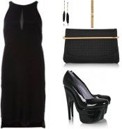 An all-black look with bits of gold splashes.