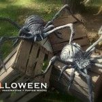 grocery bags, tape and wire! this guy's genius Creepy Halloween Props, Halloween Spider, Halloween Art, Holidays Halloween, Spider Decorations, Diy Halloween Decorations, Halloween Accessories, Hallows Eve, Crafts To Do
