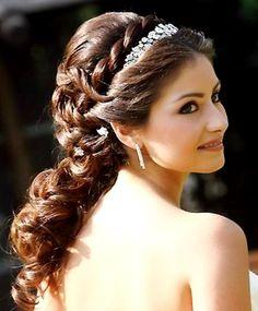 Bride's loose braided half up bridal hair Toni Kami Wedding Hairstyles ♥ ❷ Wedding hairstyle ideas Swarovski headpiece