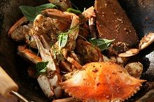 Stir-Fried Blue Swimmer Crabs with Tamarind & Coconut - Stir-frying is a quick, one-pan method of cooking, popular throughout much of Asia. This dry style is more Malaysian than Chinese, as are ingredients such as tamarind and coconut.