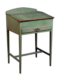 "RARE SHAKER DESK, Pine, maple and chestnut, original green painted finish, signed in white chalk in script on back of lift up lid by Alfred Merrick Collier (1823-1884), made for Elder Grove Blanchard, 1861, Harvard Shaker Community (two Shaker communities comprised Harvard, the Bishopric seat, and Shirley), a quote from Collier's journal for July 4, 1861 ""...I went over to the South Family and got my desk I made for Elder Grove."""