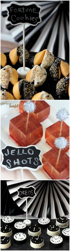It's a No-Bake New Years Party with Chocolate Covered Oreo Cookie Clocks, Champagne Jello and Chocolate Dipped Fortune Cookies!
