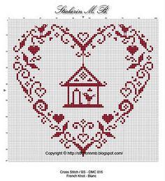 Cross stitch heart/bird house