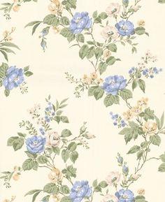 Cottage Garden Wallpaper Swatch - Buttermilk/Blue contemporary wallpaper