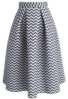 Zigzag Airy Midi Skirt - New Arrivals - Retro, Indie and Unique Fashion