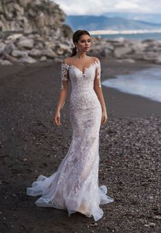 Wedding dress with long tulle train, Fitted Lace Wedding Dress with Slit from French Lace with Embroidered Flower Patches, Beach Wedding 047 – Wedding ideas Fitted Lace Wedding Dress, Lace Mermaid Wedding Dress, Sexy Wedding Dresses, Mermaid Dresses, Sexy Dresses, Bridal Dresses, Tulle Wedding, Lace Wedding Gowns, Form Fitting Wedding Dress