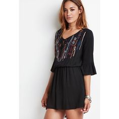 Forever 21 Embroidered Bell-Sleeve Peasant Dress featuring polyvore, fashion, clothing, dresses, bell sleeve mini dress, 3/4 sleeve dress, mini dress, summer mini dresses and summer dresses