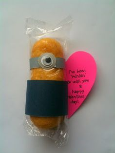 "Homemade Minion Valentine Idea... A Twinkie dressed up like a Minion ~ You're One In A Minion Valentine. The heart says ""I've been ""minion"" to wish you a happy Valentines Day!"""