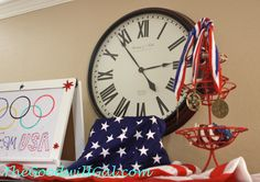 #Olympic #USA #party using items from #Goodwill.  #Flag #3tierstand #decorativeballs #patriotic