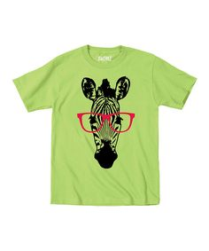 Look at this Key Lime Zebra Glasses Tee - Toddler