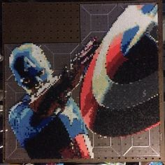 Marvel Captain America perler bead sprite art by bgkayz