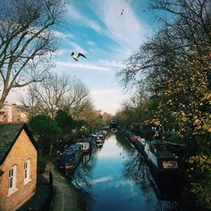 Blue skies and wisps of winter cloud over London's Little Venice #BurberryWeather 8°C | 46°F