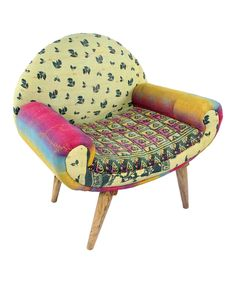 Cool! Another great find on #zulily! Pink & Yellow Patchwork Modern Traveler Chair by Karma Living #zulilyfinds