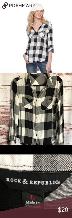 Rock & Republic Women's Flannel Plaid Shirt L Rock & Republic Women's Black/White Flannel Plaid Shirt  Size L  100% Rayon  Chest: 20in Sleeve: 23.5in Back Length: 27in *measurements approximate* Rock & Republic Tops Button Down Shirts