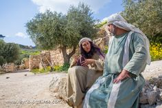 A couple at the Nazareth Village in modern-day Nazareth, exhibiting life as it was in the first century.