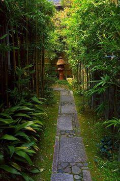 allée de jardin dans un jardin japonais
